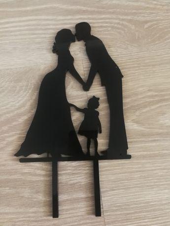 Pozostałości z wesela topper młoda para z dzieckiem, naklejki, konfett