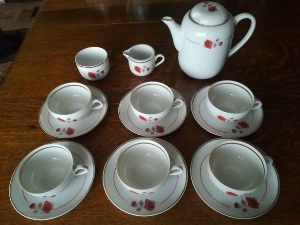 Porcelanowy serwis kawowy herbaciany Karolina maki 6 osób