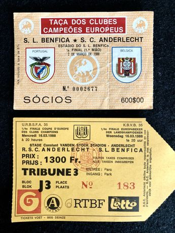 Bilhetes BENFICA Taça clubes campeões Europeus 1988.
