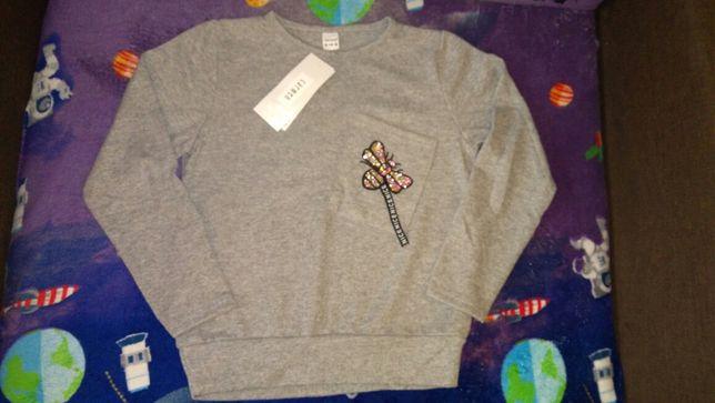 Sweter nowy 140 dla dziewczynki szary sweterek