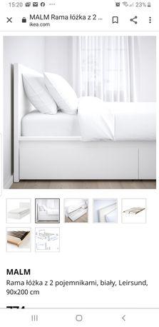 Łóżko 90×200 ikea malm białe jak nowe