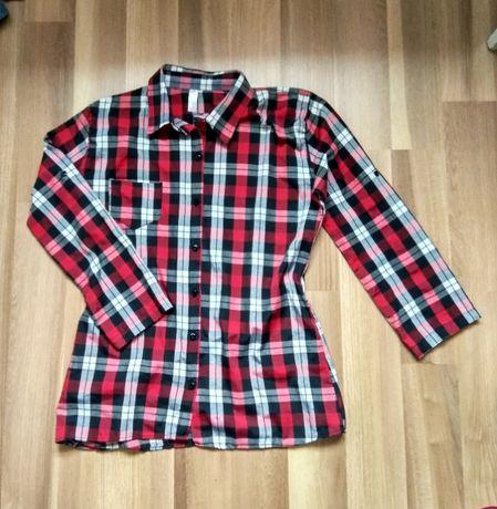 Koszula w czerwoną kratę z kieszonką. r. S/M, rękaw 3/4 stan idealny