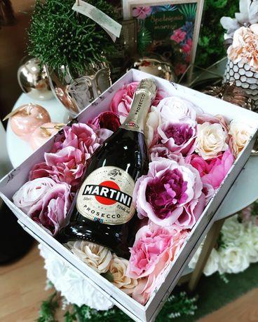 Pakowanie prezentów flowerbox ze sztucznymi kwiatami sztuczne kwiaty
