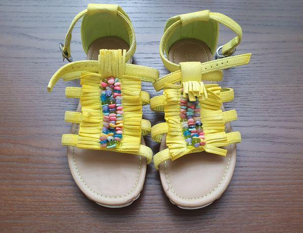 Босоножки замшевые жёлтые сандалии next 27 28 девочка 18 см