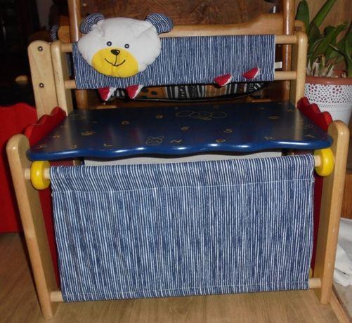 Banco- Caixa de arrumação de brinquedos, em madeira e tecido