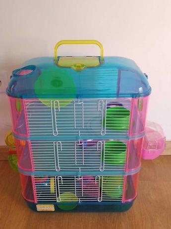 Gaiola de 3 andares para hamster com vários acessorios, como nova