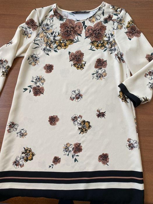 Zara beżowo czarna sukienka z kwiatami japońskke Warszawa - image 1