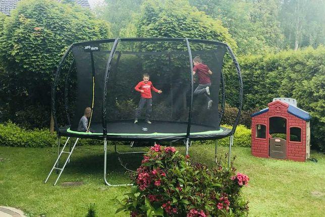 Батут Jump Hero 374 см с внутренней сеткой зеленый + лестница Польша