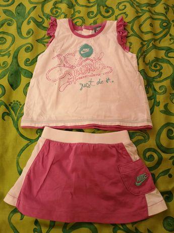 NIKE zestaw różowy dresik r. 74/80 bluzeczka i spódniczka 9/12 mies