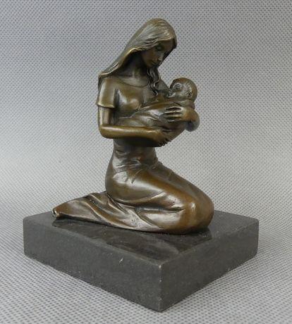 Matka z Dzieciątkiem RZEŹBA BRĄZ figura sygnowana