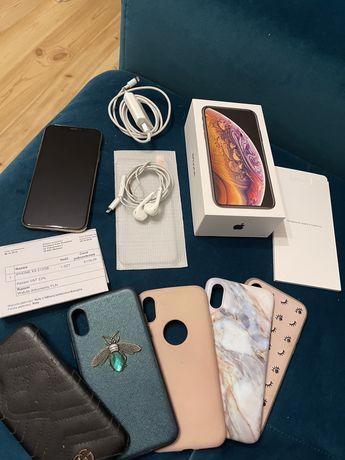Iphone Xs 512 gb złoty, szkło, 4x case