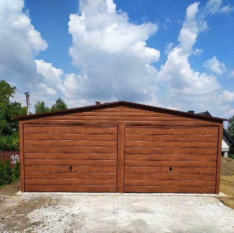Garaż blaszany, garaż blaszak 6x5 ORZECH - 100% PROFIL ZAMKNIĘTY