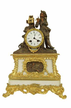 XIX w zegar kominkowy stojący Francja BRĄZ ZŁOCONY Molliere cudo
