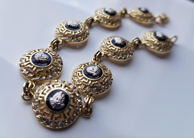 """Wyjątkowa złota bransoletka """"Versace"""" pr.585 PEREŁKA!"""