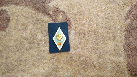 Значок, ромб СССР гуманитарный ВУЗ (голубой) новый