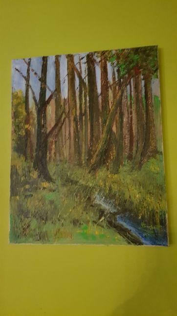 Obraz ,, Las i strumień '' ręcznie malowany na płótnie