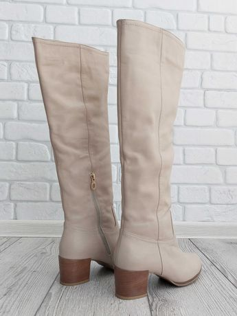 Женские сапоги кожаные Bate Турция еврозима бежевые