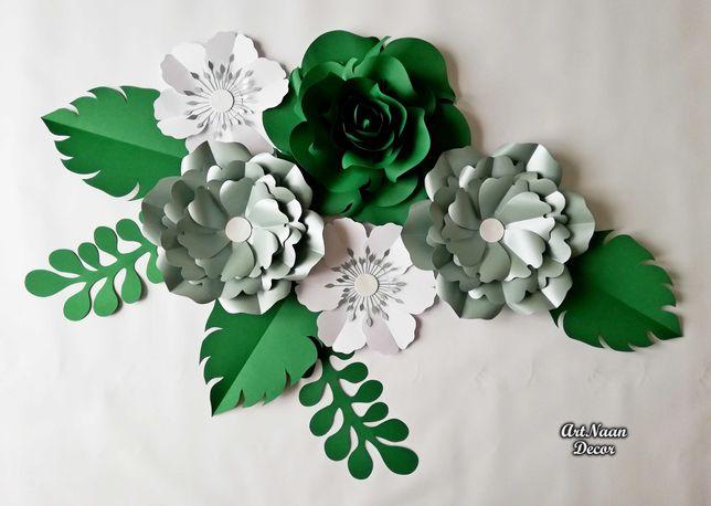 Kwiaty papierowe, dekoracje ślubne, tło