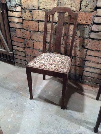 Krzesło stare secesyjne szczeblak do renowacji tapicerowane 3 sztuki
