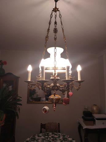 Stara zabytkowa lampa wisząca fajans  metal i szkło