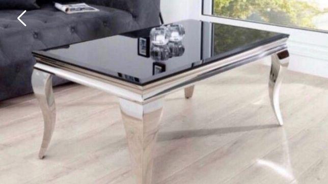 Ława stolik kawowy 130x70 czarne szkło glamour