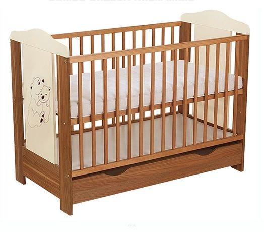 Funkcjonalne łóżeczko z szufladą i materacem orzech+ecrue