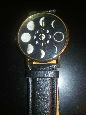 M zegarek damski nowy czarny pasek tarcza czarna z fazami ksiezyca