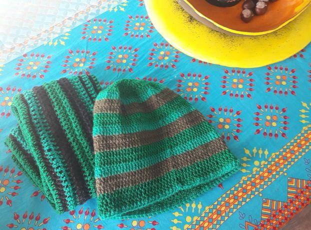 Zestaw komin czapka kolorowe w paski na prezent tanio ręcznie wykonany