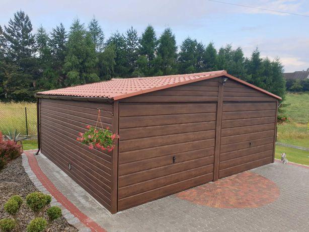 Garaż blaszany Drewnopodobny Blaszak Poziom PROFIL ZAMKNIĘTY 6x6 6x5