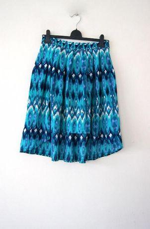 H&M elegancka asymetryczna spodnica spodniczka niebieska morska S M 36