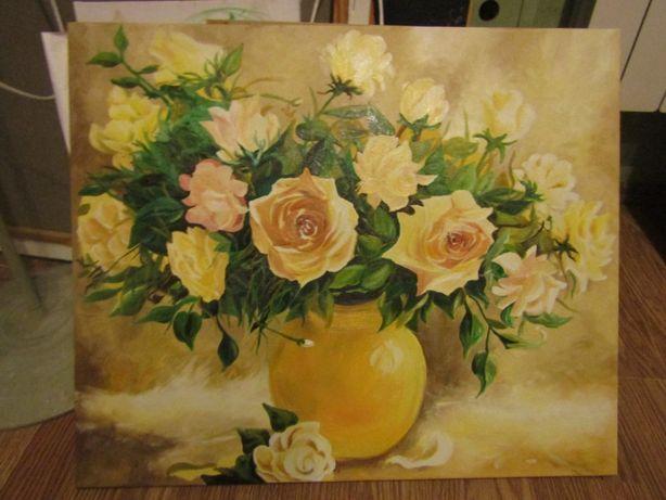 Obraz olejny bukiet kwiatów róże
