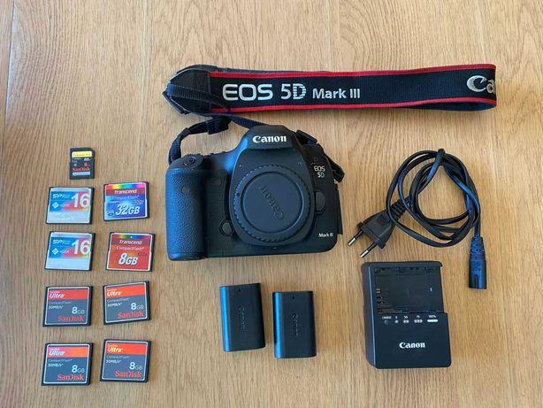Canon EOS 5D Mk III + 2 bat + 9 cartões