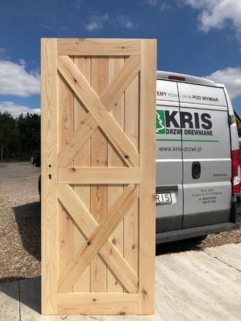 drzwi wiejskie od ręki sosna 88x205 sęczne