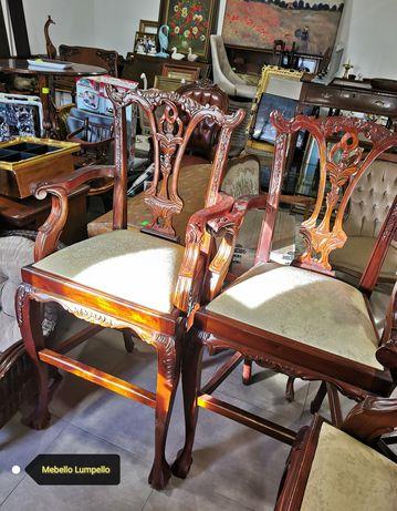 Hoker hokery bogato zdobione jak stare antyk drewniane barowe krzesła