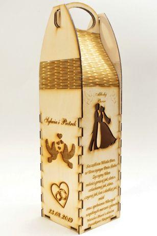 Prezent na ślub, skrzynka na wino, wódkę