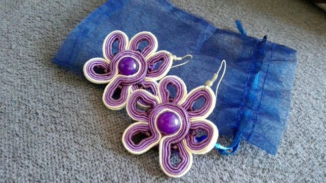 Kolczyki kwiaty kwiatki fioletowe soutache handmade recznie robione