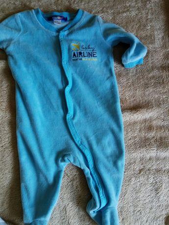 Pajac pajacyk piżama lupilu rozmiar 62 niebieski rozpinany welurowy