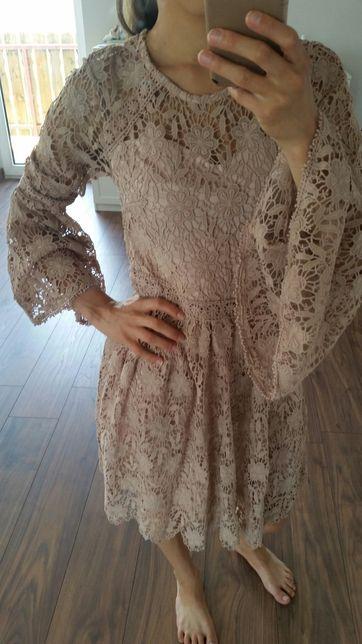 Sukienka na wesele koronkowa S latika beżowa
