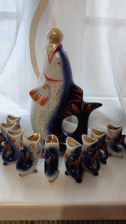 Набор фарфоровый рыбки графин и рюмки