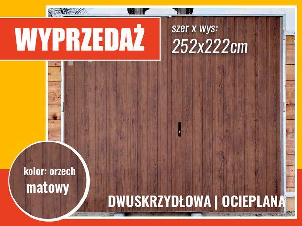Brama garażowa dwuskrzydłowa w kolorze orzech Producent MONTAŻ GRATIS