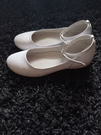 Białe baletki Emel  r32 Skóra