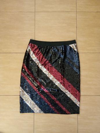 Nowa spódnica z cekinami cekiny 36 S na gumkę krótka