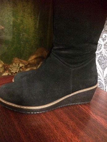 Зимние замшевые сапоги, кожаные пакет обуви, 36-37 разм