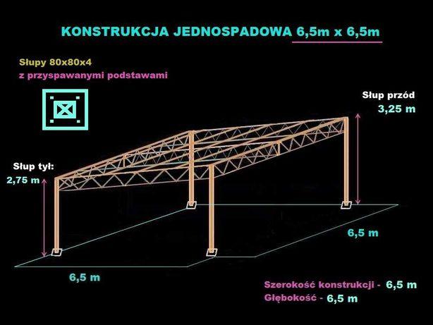 Konstrukcja skręcana wiata rolna garaż 6,5 x 6,5m Hala Magazyn
