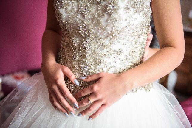 Suknia ślubna firmy Agnes, buty ślubne La Boda rozmiar 37