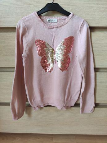 H&m sweterek zmieniające się cekiny dla dziewczynki 122/128