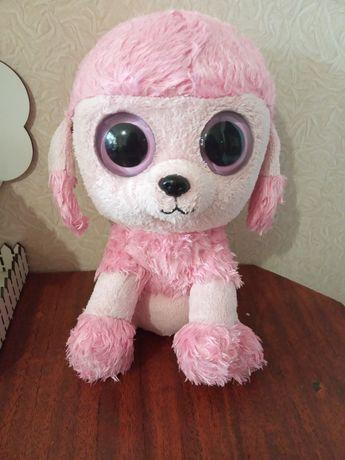 Мягкая игрушка собака пудель с большими глазами