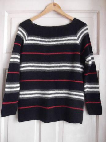 granatowy sweter w paski z wełną