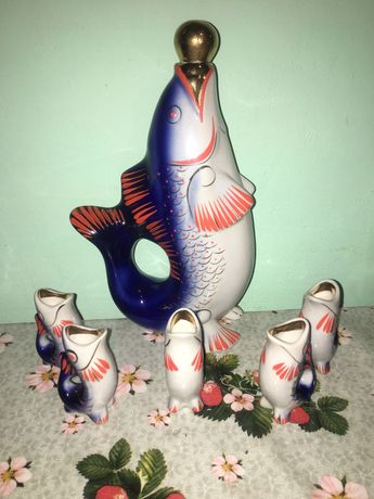 Набор графин/рюмки рыбки