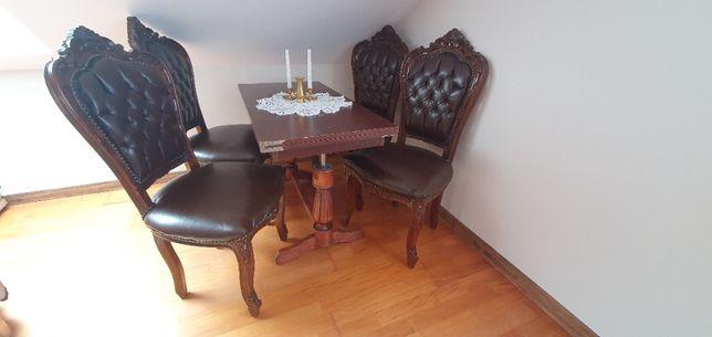 krzesła ludwik XVI brązowe drewno okazja 4 sztuki + ława